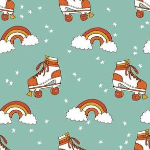 rollerskates fabric // cute nostalgic rollerskate retro rainbow girls design - 70s