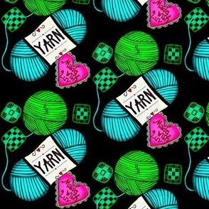 Made with Love! Yarn Stash knit/crochet on black