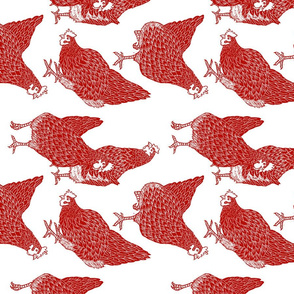 Fabric_design_-_sorted_hen_-_new_red_-_Rotated_version