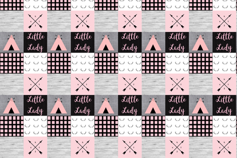 Little Lady Pink Gray Tipi fabric by moonsheets on Spoonflower - custom fabric