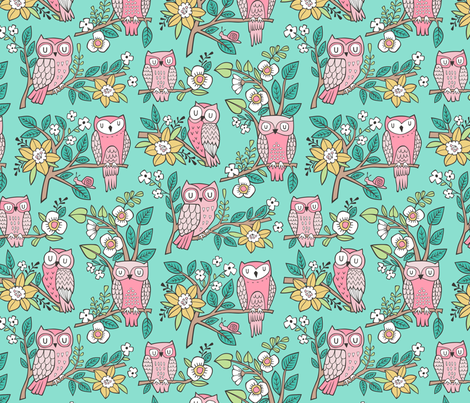 Owls and Flowers on Mint Green fabric by caja_design on Spoonflower - custom fabric