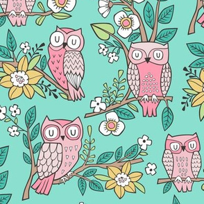 Owls and Flowers on Mint Green