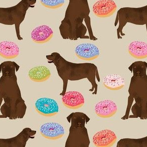 chocolate labrador fabric donuts and dogs design
