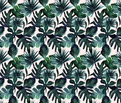 tropical Leaves Blush - Medium fabric by crystal_walen on Spoonflower - custom fabric