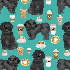 shih tzu dog fabric  dogs and coffees fabric grey/black shih tzu - turquoise