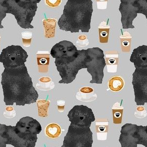 shih tzu dog fabric  dogs and coffees fabric grey/black shih tzu - grey