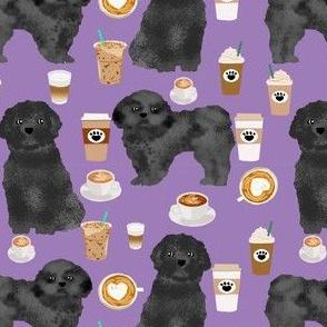 shih tzu dog fabric  dogs and coffees fabric grey/black shih tzu - purple