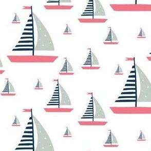 """4"""" Pink, Blue & Rainwashed Green Sailboats"""