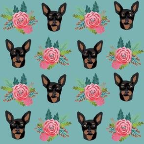 miniature pinscher floral fabric min pin dog design - blue