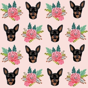 miniature pinscher floral fabric min pin dog design - pink