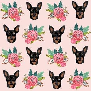 miniature pinscher floral fabric min pin dog design - pink