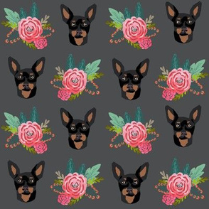 miniature pinscher floral fabric min pin dog design - charcoal