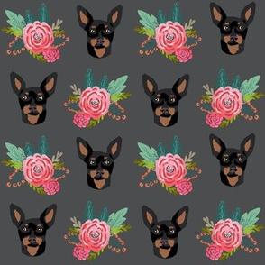 miniature pinscher floral fabric min pin dog design - charcoal