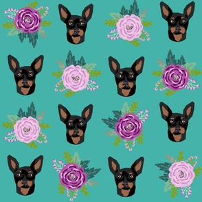 miniature pinscher floral fabric min pin dog design - turquoise and purple