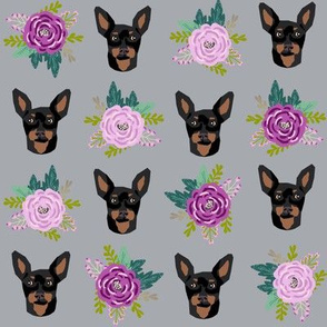 miniature pinscher floral fabric min pin dog design - grey