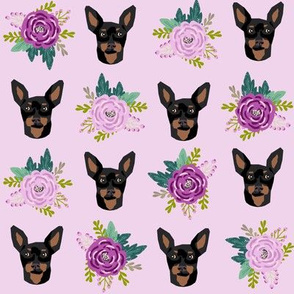 miniature pinscher floral fabric min pin dog design - purple