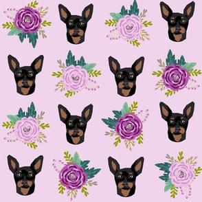 miniature pinscher floral fabric min pin dog design - purple