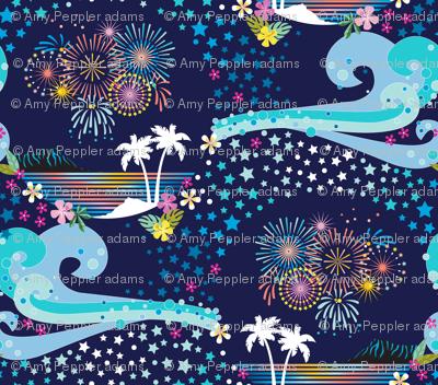 pua o ke ahi (Flowers of Fire) || fireworks July 4th Independence Day America USA stars palm trees tropical Polynesian Hawaii waves ocean flowers diamond head night sky celebration