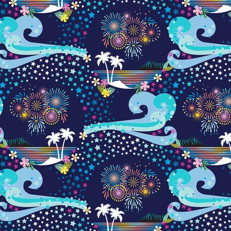 pua o ke ahi (Flowers of Fire) || fireworks July 4th Independence Day America USA stars palm trees tropical Polynesian Hawaii waves ocean flowers diamond head night sky celebration fabric by pennycandy on Spoonflower - custom fabric