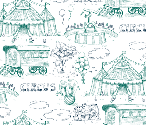 Toile de Jouy meets retro circus fabric by ellila on Spoonflower - custom fabric