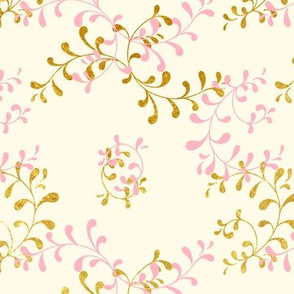 swirling seaweed - pink and gold