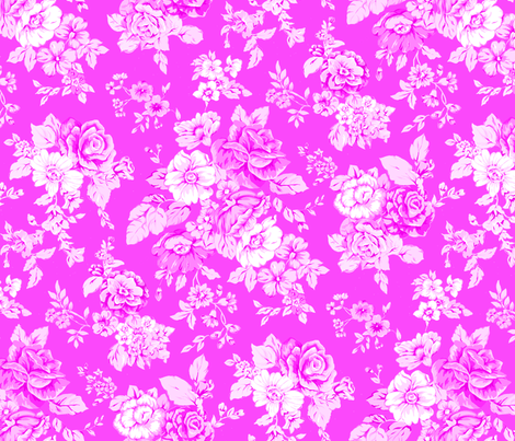 Large Floral on Pink fabric by ileneavery on Spoonflower - custom fabric