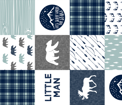 the happy camper wholecloth || navy and dusty blue (Little man) - 90 fabric by littlearrowdesign on Spoonflower - custom fabric
