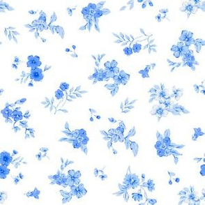 Small Blue Floral on White