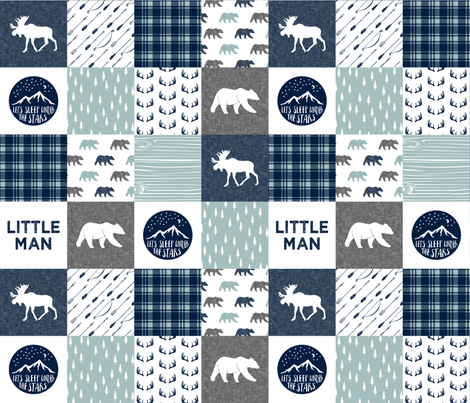 the happy camper wholecloth || navy and dusty blue (Little Man)  fabric by littlearrowdesign on Spoonflower - custom fabric