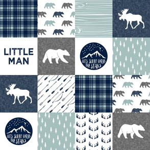 the happy camper wholecloth || navy and dusty blue (Little Man)