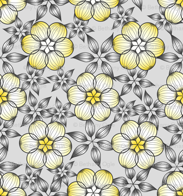 Large Scale Gray and Yellow Star Flowers by Amborela