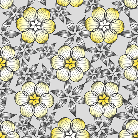 Large Scale Gray and Yellow Star Flowers by Amborela fabric by amborela on Spoonflower - custom fabric