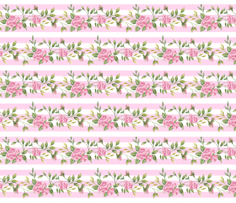 Rose Border on Stripe  fabric by ileneavery on Spoonflower - custom fabric