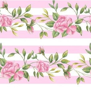 Rose Border on Stripe