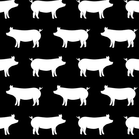 just pigs - black fabric by littlearrowdesign on Spoonflower - custom fabric