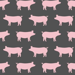 just pigs - pink on grey
