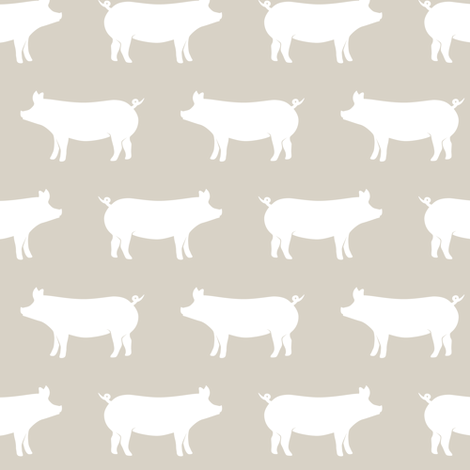 just pigs - beige fabric by littlearrowdesign on Spoonflower - custom fabric