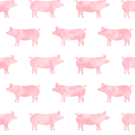 just pigs - watercolor pink fabric by littlearrowdesign on Spoonflower - custom fabric