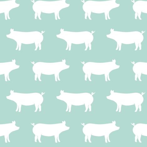 just pigs - dark mint fabric by littlearrowdesign on Spoonflower - custom fabric