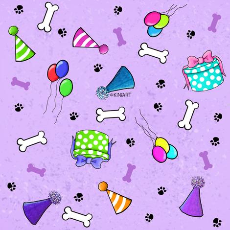 KiniArt Dog Lovers Birthday fabric by kiniart on Spoonflower - custom fabric