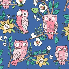 Owls and Flowers on Blue Navy