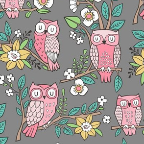 Owls and Flowers on Dark Grey