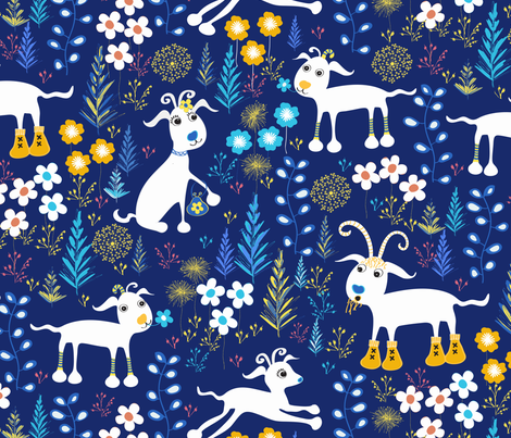 Boys room goats fabric jill o connor spoonflower for Fabric for boys room