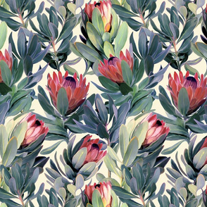 Painted Protea Floral - soft red version