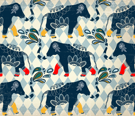 Circus_Elepants_Blowing_Out_Fun fabric by 2_blue_doors on Spoonflower - custom fabric