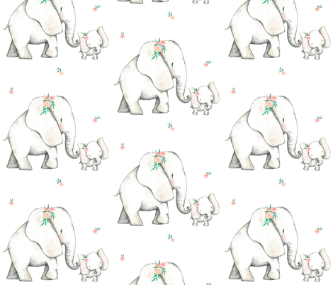 "7"" Pink Elephant fabric by shopcabin on Spoonflower - custom fabric"