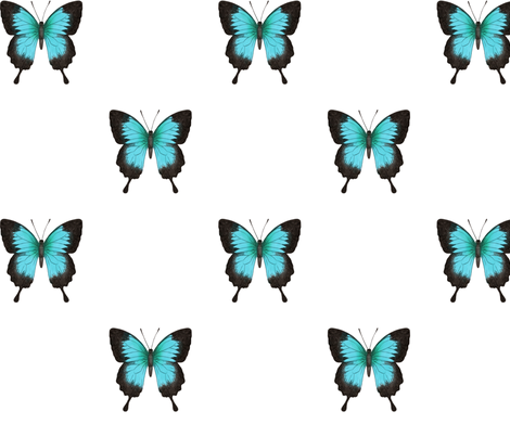 Ulysses Butterfly - simple repeat on white fabric by hazel_fisher_creations on Spoonflower - custom fabric