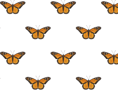 Monarch Butterfly - simple repeat on white fabric by hazel_fisher_creations on Spoonflower - custom fabric