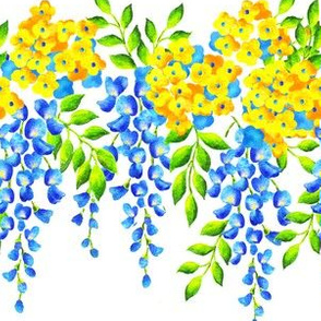 Blue Wisteria with Yellow Jasmin