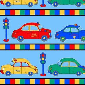 Cars Stripe on Blue